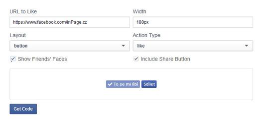 """Formulář FB pro generování tlačítka """"To se mi líbí"""""""
