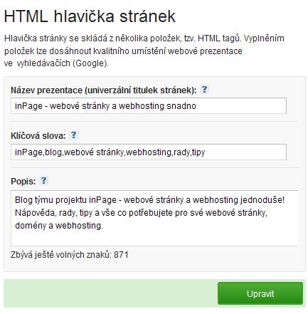 2c127c769 HTML hlavička stránek | inPage - webové stránky a webhosting snadno ...